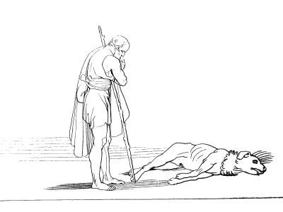 Ulysse et son chien Argos - illustration Flaxman
