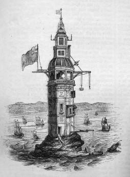 phare d'Eddystone dit de Winstanley - gravure de H. Roberts, 1761