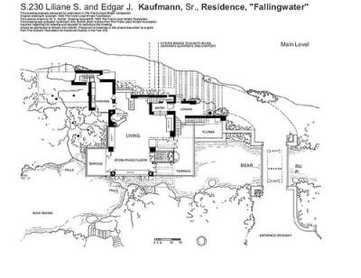 la maison sur la cascade, plan 1 - Frank Lloyd Wright
