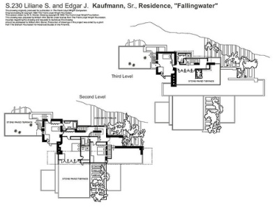 la maison sur la cascade, plan 2 - Frank Lloyd Wright