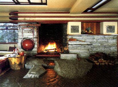 La maison sur la cascade salon frank lloyd wright de La maison de la cascade