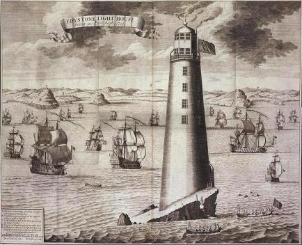 phare d'Eddystone dit de Rudyard - gravure de Isaac Salimaker