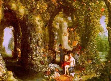 Jan Brueghel l'Ancien - caverne fantastique avec Ulysse et Calypso, vers 1616