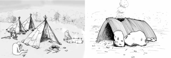 Reconstitution tente et hutte paléolithique