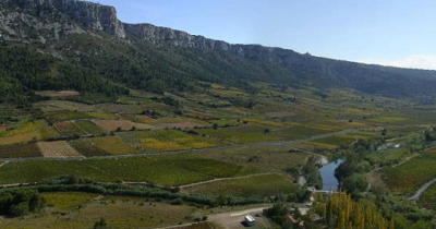 la plaine de Tautavel vue de l'entrée de la grotte