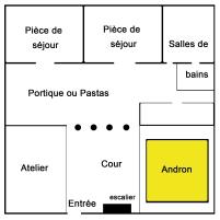 plan schématique du rez-de-chaussée d'une maison_d'Olynthe