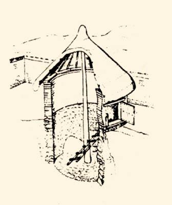 Reconstitution d'un grenier circulaire du vieux Smyrne (VIIIe siècle avant J.C)