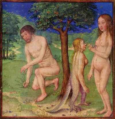 Adam, Eve et Lilith (manuscrit du XVe siècle)