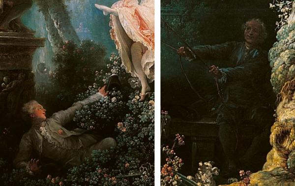 Fragonard, les hasards heureux de l'escarpolette, détails