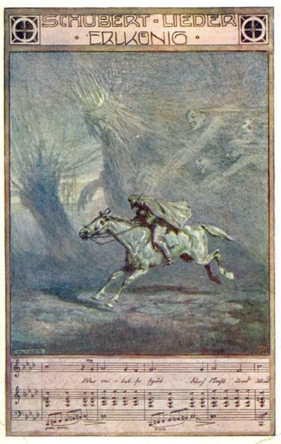 Erlkoenig, illustration du lieder de Schuber par Ernst Kutzer, 1914