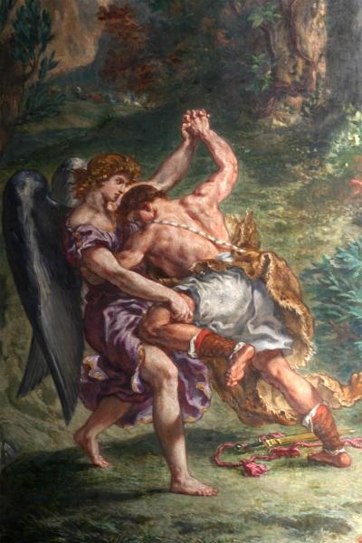 Lutte de Jacob avec l'Ange, fresque d'Eugène Delacroix