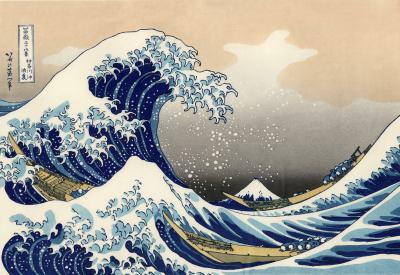 la grande vague de Kanagawa, Hokusaï, version de 1930