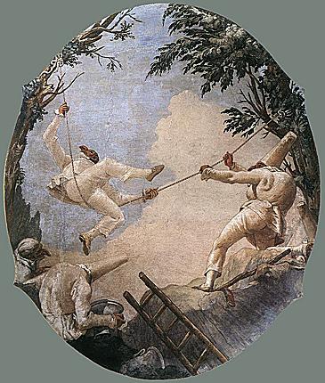 Tiepolo, Polichinelle sur la balançoire, fresque à Venise, 1793-1797