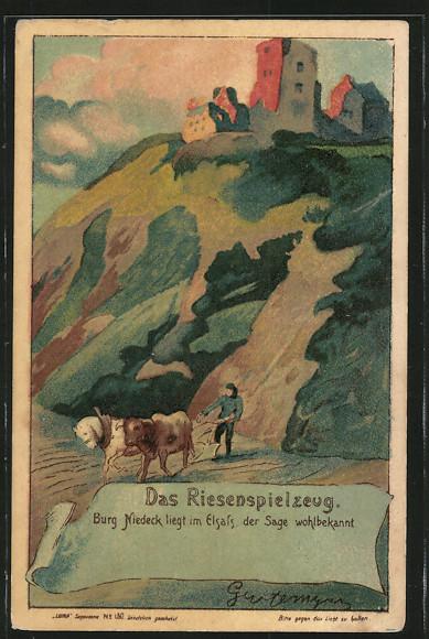 Das Riesenspielzeug Burg Niedeck Mann pfluegt Feld