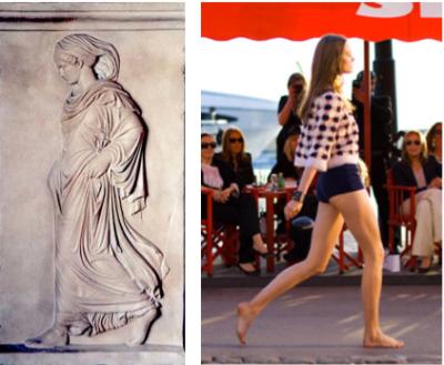 La Gradiva et un mannequin du défilé Cacharel à Saint-Tropez