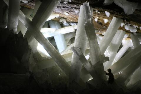 Cristaux de la grotte de Naica - crédit Wikipedia - photo Alexander Van Driessche
