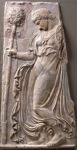 Relief with a dancing maenad [see Dem. L-386], Roman copy of a Greek relief attributed to Kallimachos, ca. 425–400 BCE. Pentelic marble.