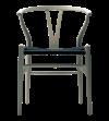 hans J Wegner - chaise Wishbone chêne savonné:assise en corde noire