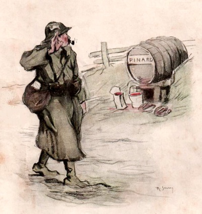 Le salut au pinard. Dessin de R. Serrey. 1917.