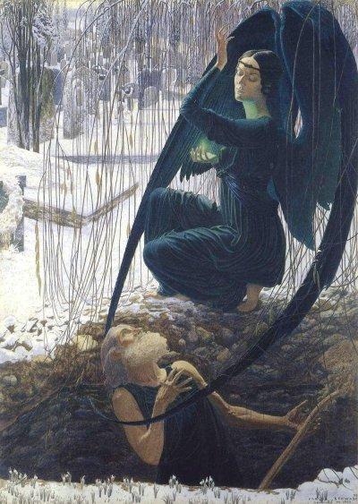 la Mort du fossoyeur, Carlos Schwabe,