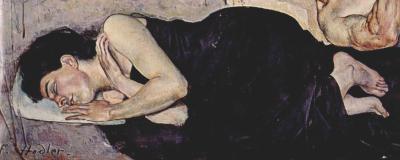 Ferdinand Hodler - détail de la Nuit (1898) : la femme allongée (Augustine Dupin)