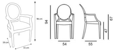 Comparaison Des Dimensions De La Chaise Louis XVI Et De La Chaise Louis  Ghost