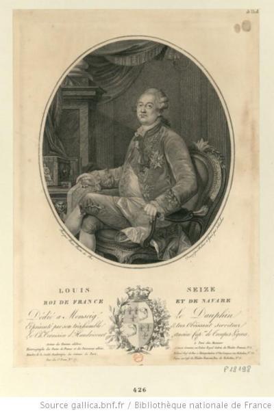 Louis XVI, à mi-jambes, de trois quarts à gauche, assis dans un fauteuil, avançant la main droite vers la clef d'un meuble sur le rebord duquel est posé un plan : [estampe]
