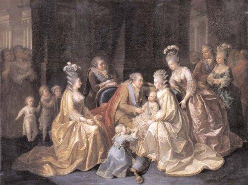 Les Membres de la famille royale réunis autour du Dauphin né en 1781, École française, vers 1782-1783