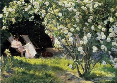 Peter Severin Kroyer - Roseraie ou Femme du peintre dans son jardin de Skagen - 1893 - Londres, The Fine Art Society