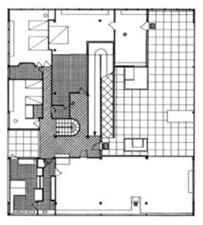 villa Savoye à Poissy, niveau 1 avec patio