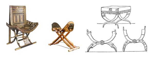 siège et chevet de Toutankhamon et chaise curule des romains
