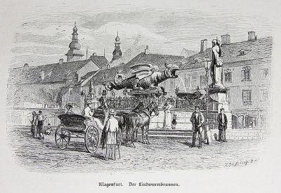 Fontaine du Lindworm de Klagenfurt_- gravure sur bois de 1880