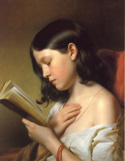 Franz Eybl - Jeune fille lisant - 1850