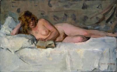 Isaa Israels - Reclining Nude Sjaantje van Ingen - 1900