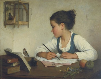 Brown Henriette (Sophie de Bouteiller (Sophie de Bouteiller) - A Girl Writing; The Pet Goldfinch - 1870-1874