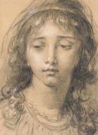Tête d'une jeune fille (détail), sd par Elisabeth Louise Vigée-Lebrun, Fusain sur papier, Musée du Louvre