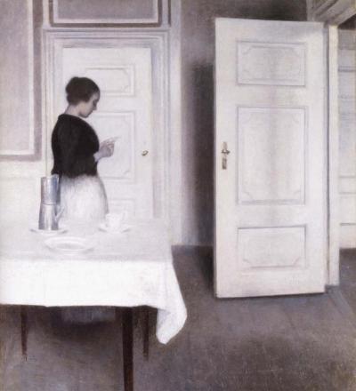 Vilhelm Hammershoi - Intérieur avec une femme lisant une lettre - 1891