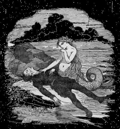 Vignette de La petite Sirène par Bertall représentant la petite sirène et le prince.