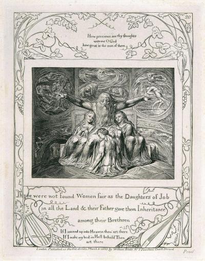 William Blake - gravure de l'illustration de la planche 20 du Livre de Job : Job et ses filles (1826)