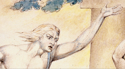 William Blake - Détail de l'aquarelle de l'illustration de la planche 2 du Livre de Job : The Messengers Tell Job of His Misfortunes (1805)