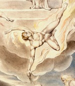 William Blake - détail de l'aquarelle de l'illustration de la planche 5 du Livre de Job : Satan Going Forth from the Presence of the Lord (1805)