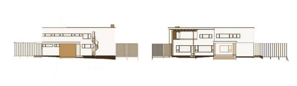maison Gropius à Lincoln - élévations droite et gauche