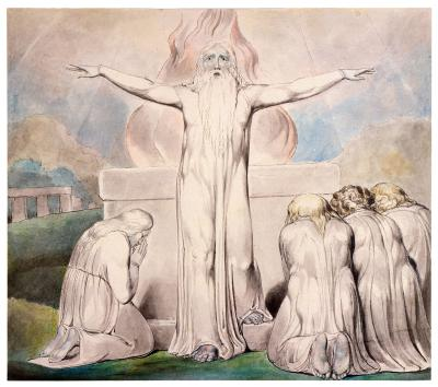 William Blake - aquarelle de l'illustration de la planche 20 du Livre de Job : le sacrifice de Job