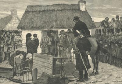Tenanciers irlandais chassés de leurs terres par les propriétaires.