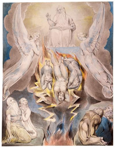 William Blake - aquarelle de l'illustration de la planche 14 du Livre de Job : The Fall of Satan (1805)