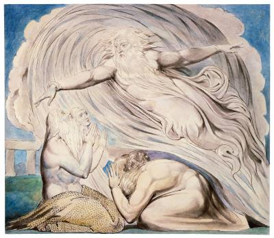 William Blake - aquarelle de l'illustration de la planche 13 du Livre de Job : The Lord Answering Job Out of the Whirlwind (1805)