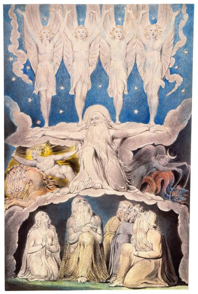 William Blake - aquarelle de l'illustration de la planche 14 du Livre de Job : When the Morning Stars Sang Together (1805)