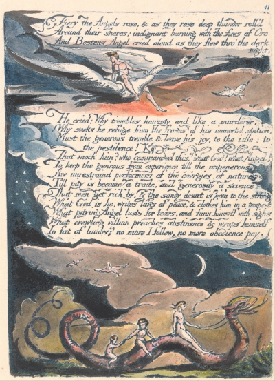 "William Blake - America. A Prophecy, Plate 13, ""Fiery the Angels Rose...."""
