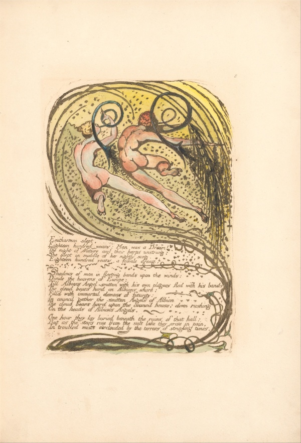 "William Blake - Europe. A Prophecy, Plate 10, ""Enitharmon slept . . . . "" (Bentley 12)"