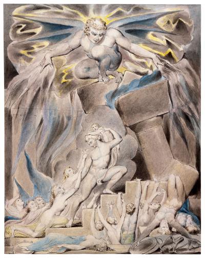 William Blake - aquarelle de l'illustration de la planche 2 du Livre de Job :  Job's Sons and Daughters Overwhelmed by Satan (1805)